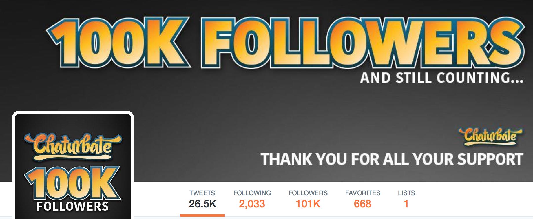 100k Twitter followers